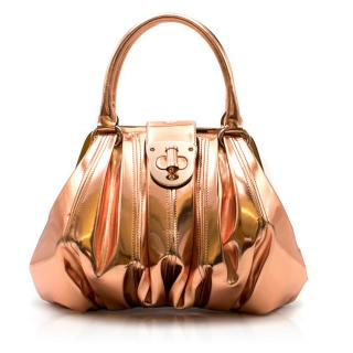 Alexander McQueen Metallic Copper Pleated Leather Handbag