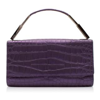 Gianni Versace Purple Croc Embossed Clutch