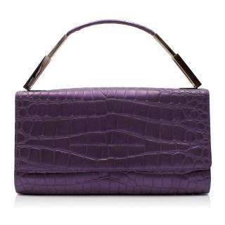 Gianni Versace Purple Croc Embossed Clutch