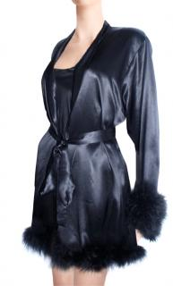 Maguy de Chadirac Black Feathered Silk Satin Dressing Gown