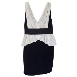 Marchesa Notte black and white peplum dress