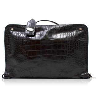 Furla Black Croc Embossed Travel Case