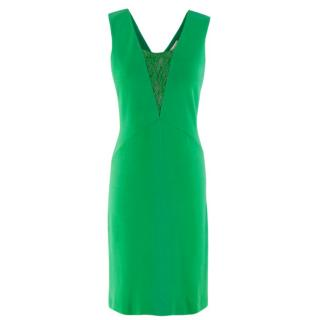 Emilio Pucci Green Fitted Lace Insert Dress
