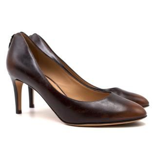 Salvatore Ferragamo Two-tone Brown Leather Pumps