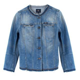 7 For All Mankind Collarless Embellished Denim Jacket