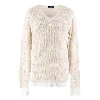 Dolce & Gabbana Cream Cotton & Linen-blend V-neck Pullover