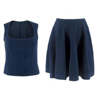 Alaia Navy Knitted Top & Skirt Two-Piece