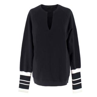 Alexander McQueen Striped Cuff V-Neck Sweatshirt
