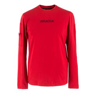 Prada Red Long Sleeve Top