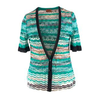 Missoni Knitted Patterned Cropped Sleeved Cardigan