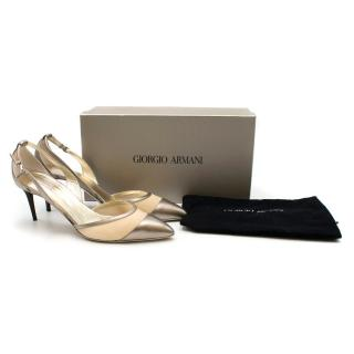 Giorgio Armani Metallic Pointed Mesh Cut-Out Pumps