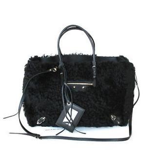 Balenciaga Black Shearling Papier Bag