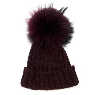 Bespoke Burgundy Fox Fur Bobble Hat