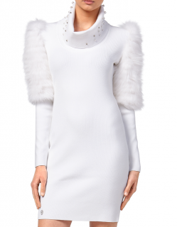Phillip Plein kiss swar knit fur dress