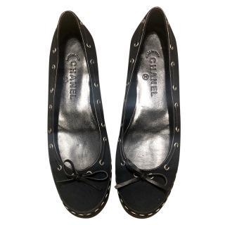 Chanel canvas & leather ballerina flats