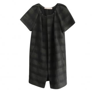 Marni Black Textured Plaid Ruched Neck Short Sleeve Cocoon Coat
