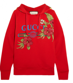 Gucci red logo embroidered sweatshirt