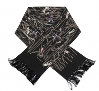 Dolce & Gabbana Men's black bird print scarf