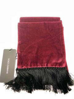 Dolce & Gabbana Men's red velvet fringed scarf