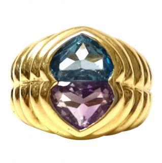 Bespoke Vintage Blue Topaz & Amethyst Ring 18ct Gold