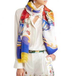 Dolce & Gabbana Sicily Vase floral print scarf