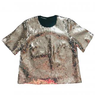 Dolce & Gabbana silver sequined top