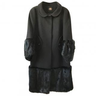Black Wool & Rabbit Fur long Coat