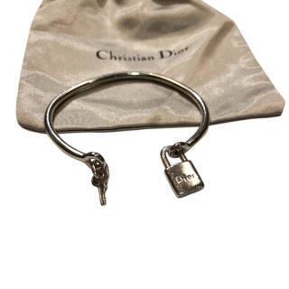 Christian Dior Silver Padlock Open Bangle