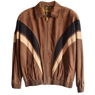 buy online f3aad b7b6d Zilli point-collar tan suede calf leather jacket