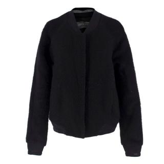Antipodium Black Wool-blend Bomber Jacket