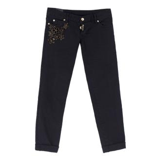 Dsquared Black Floral Embellished Jeans