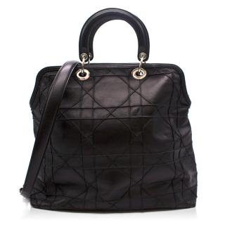 Christian Dior Black Cannage Quilted Lambskin Leather Granville Tote