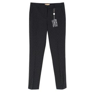 Michael Kors Collection Black Polka Dot Tapered Slim Trousers