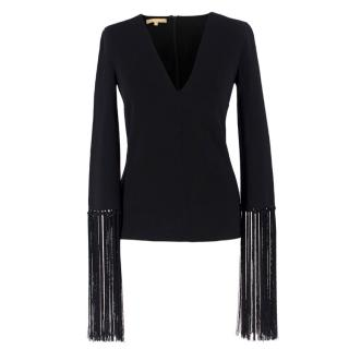 Michael Kors Collection Black Fringed Sleeve Top