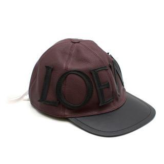 Loewe Logo Leather Lace-Up Baseball Cap