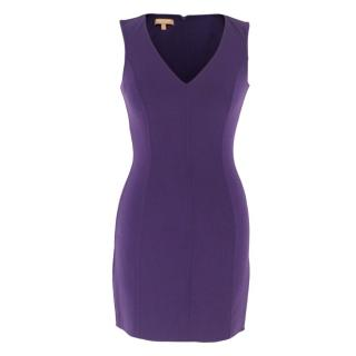 Michael Kors Collection Purple Fitted V-Neck Mini Dress