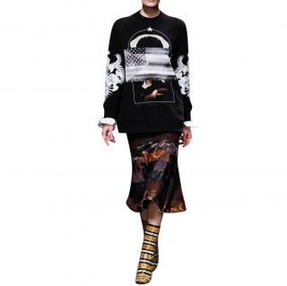 Givenchy Long Fit Shark, Flag & Portrait Print Sweatshirt