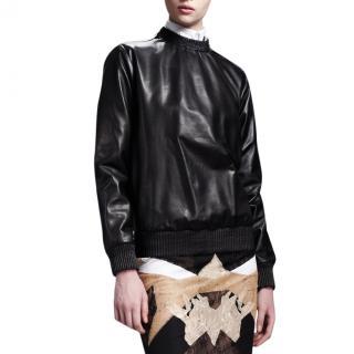 Givenchy black Leather Zip Shoulder Sweatshirt