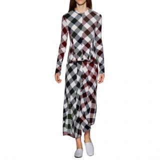 Victoria Beckham Check Peplum Godet Long Sleeve Top