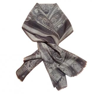 Etro Paisley Print Wool & Silk Scarf