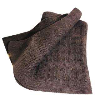 Hermes Brown Cashmere Logo Scarf