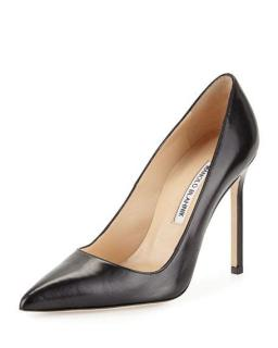 Manolo Blahnik Black Leather BB pumps