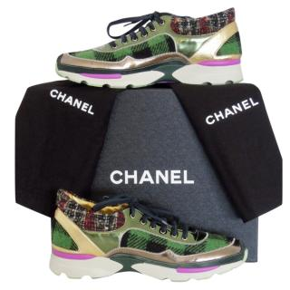 Chanel green-tweed & tartan trainers