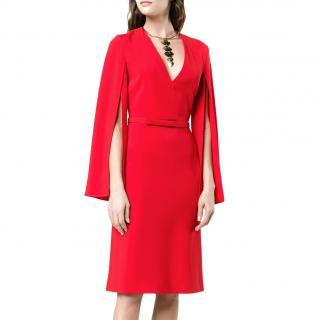 Stella McCartney V-Neck Split Sleeve Crepe Dress