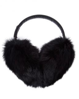 Moncler Rabbit Fur & Leather Ear Muffs
