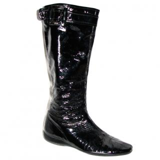 Prada shiny patent knee high boots
