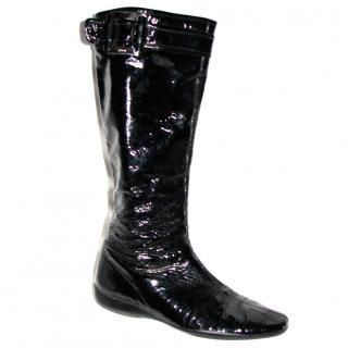 Prada shiny patent knee high boots