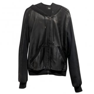 Dolce & Gabbana Black Leather Hooded Zip-Through Sweatshirt
