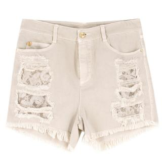 Ermanno Scervino Distressed Sequin-Embellished Denim Shorts