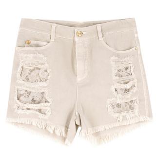 Ermanno Scervino Distressed Sequin-Embellished Denim Shorts